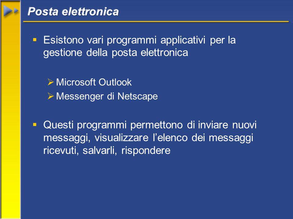 Esistono vari programmi applicativi per la gestione della posta elettronica Microsoft Outlook Messenger di Netscape Questi programmi permettono di inviare nuovi messaggi, visualizzare lelenco dei messaggi ricevuti, salvarli, rispondere