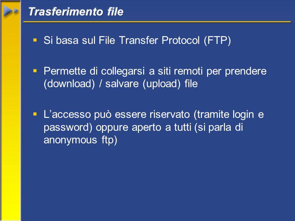Si basa sul File Transfer Protocol (FTP) Permette di collegarsi a siti remoti per prendere (download) / salvare (upload) file Laccesso può essere riservato (tramite login e password) oppure aperto a tutti (si parla di anonymous ftp)