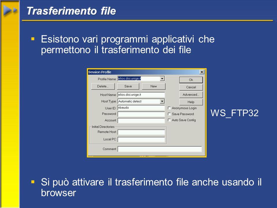Esistono vari programmi applicativi che permettono il trasferimento dei file Si può attivare il trasferimento file anche usando il browser WS_FTP32