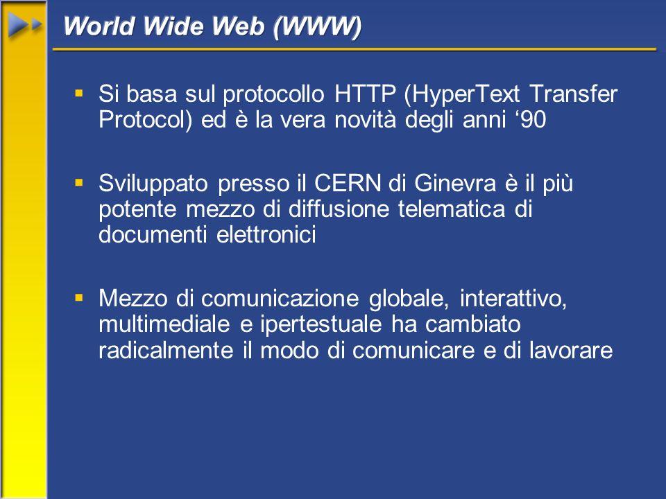 Si basa sul protocollo HTTP (HyperText Transfer Protocol) ed è la vera novità degli anni 90 Sviluppato presso il CERN di Ginevra è il più potente mezzo di diffusione telematica di documenti elettronici Mezzo di comunicazione globale, interattivo, multimediale e ipertestuale ha cambiato radicalmente il modo di comunicare e di lavorare