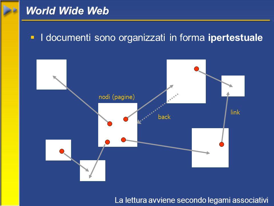 I documenti sono organizzati in forma ipertestuale nodi (pagine) link La lettura avviene secondo legami associativi back
