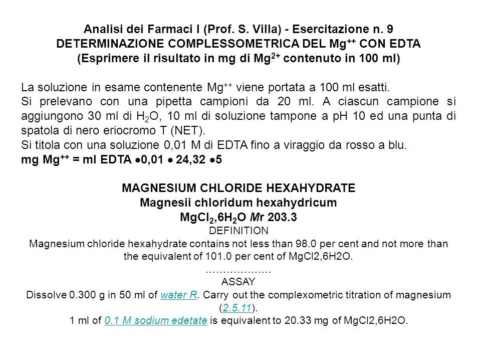 Analisi dei Farmaci I (Prof. S. Villa) - Esercitazione n. 9 DETERMINAZIONE COMPLESSOMETRICA DEL Mg ++ CON EDTA (Esprimere il risultato in mg di Mg 2+