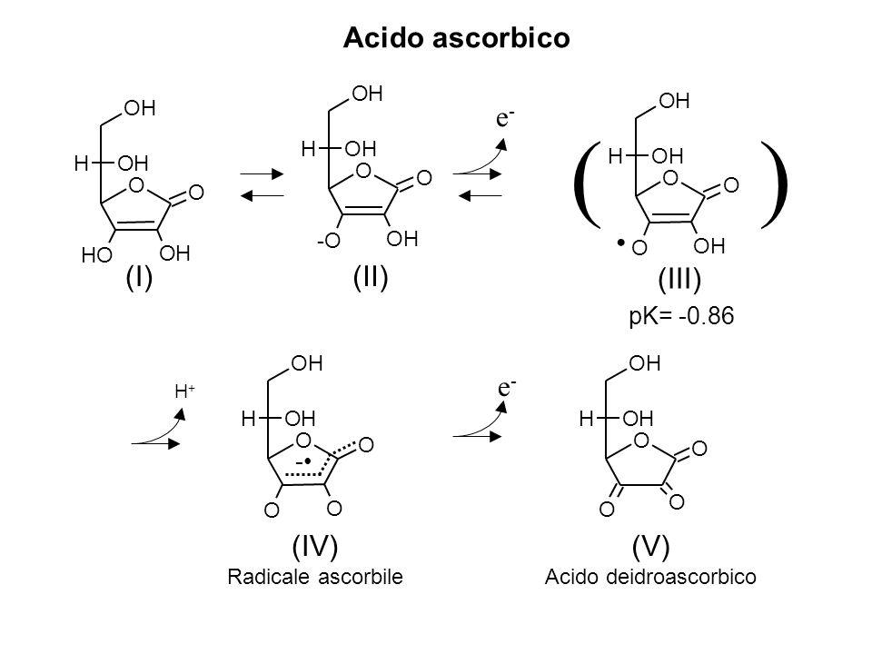 e-e- H+H+ - e-e- (II) () pK= -0.86 (III) (IV) Radicale ascorbile (V) Acido deidroascorbico O O OH -O OH OH H O O OH O OH OH H O O O O OH OH H O O O O