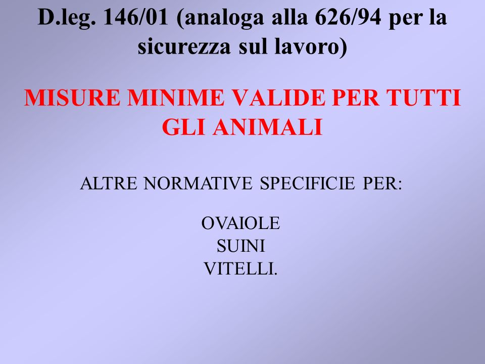 MISURE MINIME VALIDE PER TUTTI GLI ANIMALI ALTRE NORMATIVE SPECIFICIE PER: D.leg. 146/01 (analoga alla 626/94 per la sicurezza sul lavoro) OVAIOLE SUI