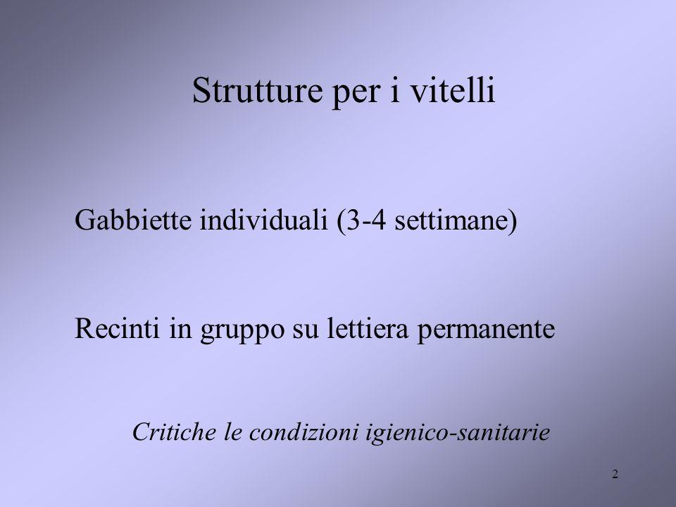 2 Strutture per i vitelli Gabbiette individuali (3-4 settimane) Recinti in gruppo su lettiera permanente Critiche le condizioni igienico-sanitarie