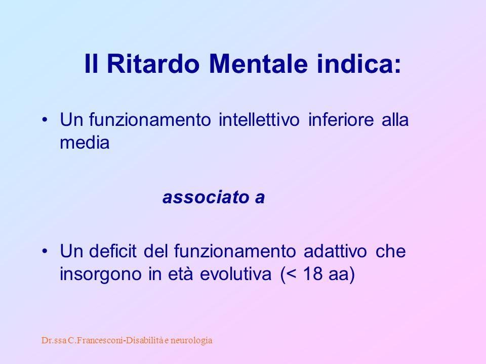 Dr.ssa C.Francesconi-Disabilità e neurologia Il Ritardo Mentale indica: Un funzionamento intellettivo inferiore alla media associato a Un deficit del funzionamento adattivo che insorgono in età evolutiva (< 18 aa)