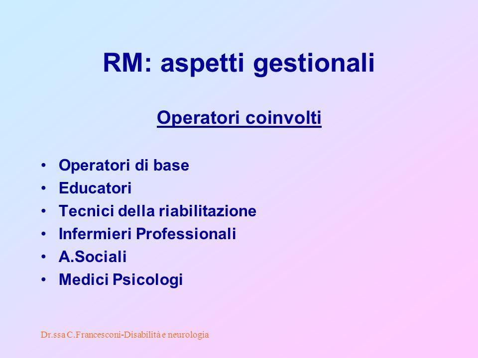 Dr.ssa C.Francesconi-Disabilità e neurologia RM: aspetti gestionali Operatori coinvolti Operatori di base Educatori Tecnici della riabilitazione Infermieri Professionali A.Sociali Medici Psicologi
