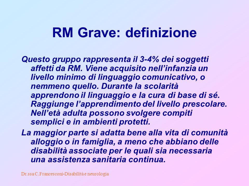 Dr.ssa C.Francesconi-Disabilità e neurologia RM Grave: definizione Questo gruppo rappresenta il 3-4% dei soggetti affetti da RM.