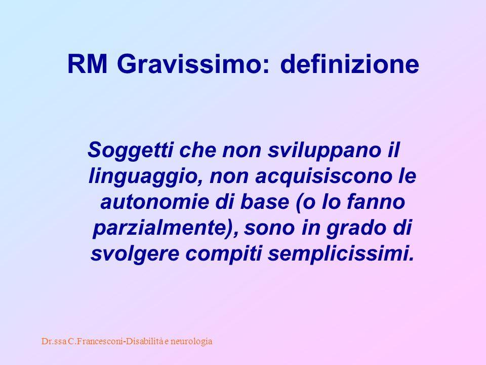 Dr.ssa C.Francesconi-Disabilità e neurologia RM Gravissimo: definizione Soggetti che non sviluppano il linguaggio, non acquisiscono le autonomie di base (o lo fanno parzialmente), sono in grado di svolgere compiti semplicissimi.