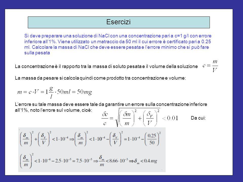 Esercizi Si deve preparare una soluzione di NaCl con una concentrazione pari a c=1 g/l con errore inferiore all1%. Viene utilizzato un matraccio da 50