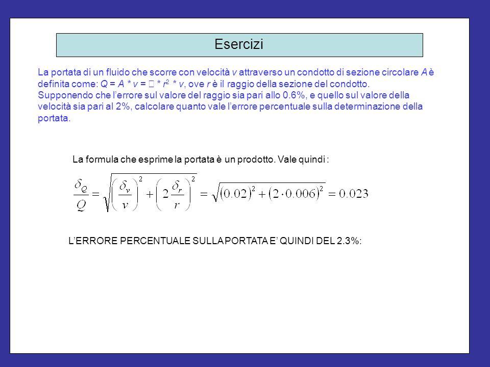 Esercizi La portata di un fluido che scorre con velocità v attraverso un condotto di sezione circolare A è definita come: Q = A * v = * r 2 * v, ove r