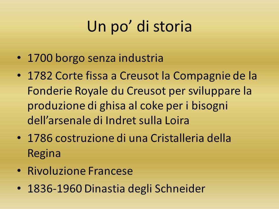 Un po di storia 1700 borgo senza industria 1782 Corte fissa a Creusot la Compagnie de la Fonderie Royale du Creusot per sviluppare la produzione di gh