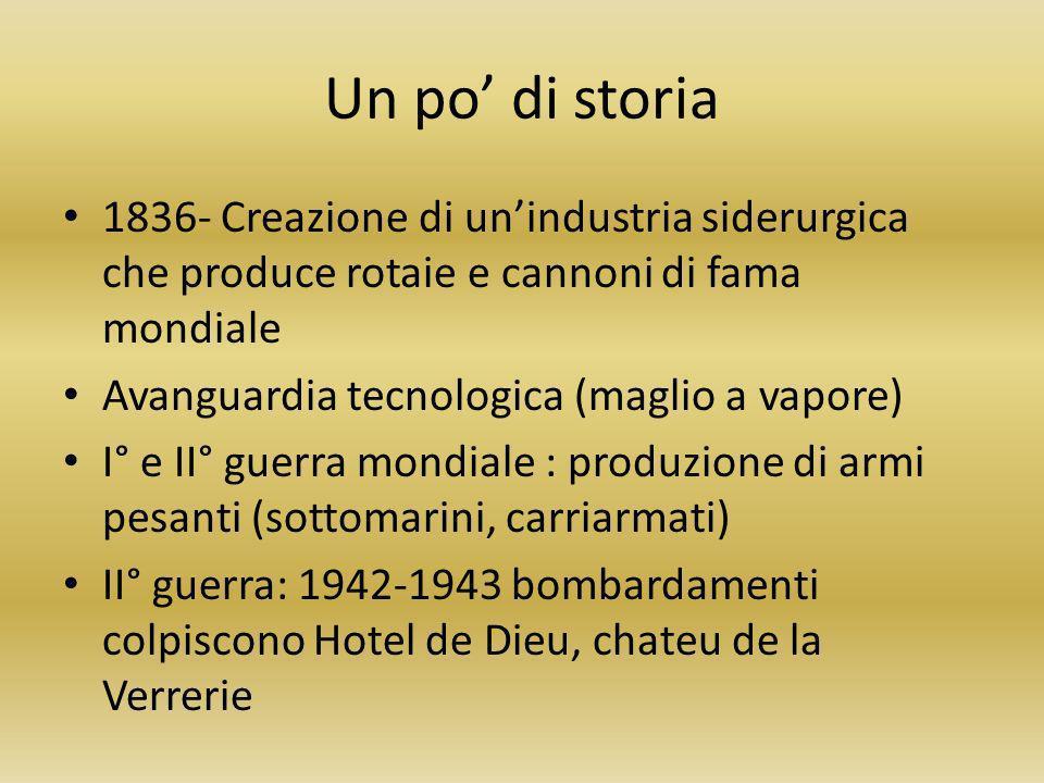 Un po di storia 1836- Creazione di unindustria siderurgica che produce rotaie e cannoni di fama mondiale Avanguardia tecnologica (maglio a vapore) I°