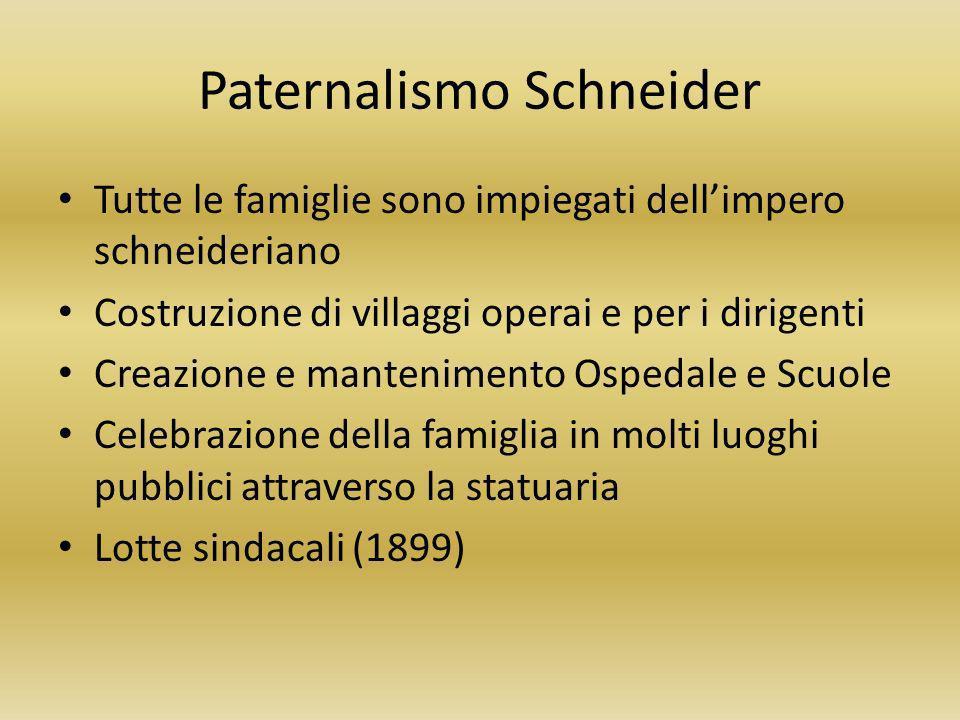 Paternalismo Schneider Tutte le famiglie sono impiegati dellimpero schneideriano Costruzione di villaggi operai e per i dirigenti Creazione e mantenim