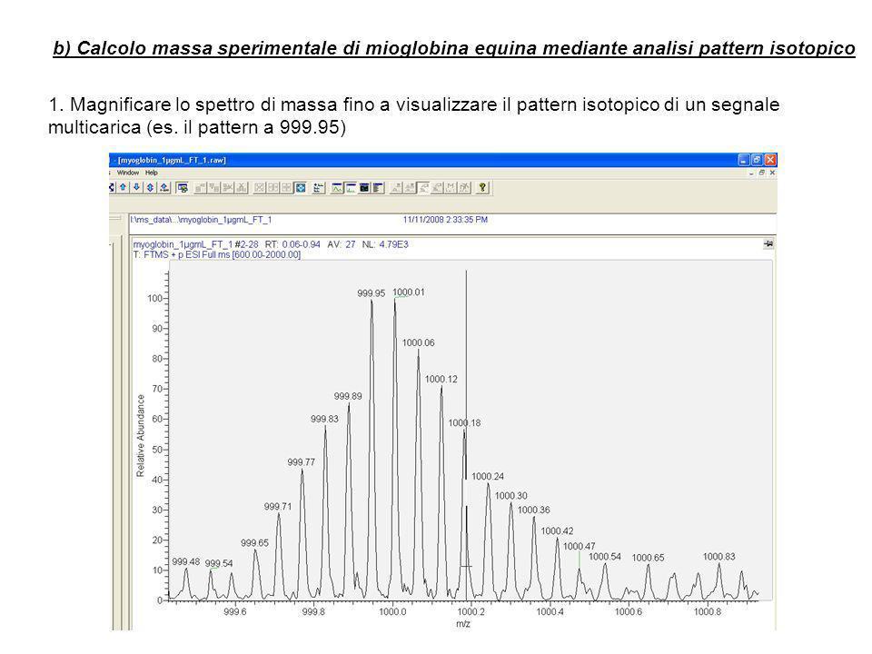 b) Calcolo massa sperimentale di mioglobina equina mediante analisi pattern isotopico 1.