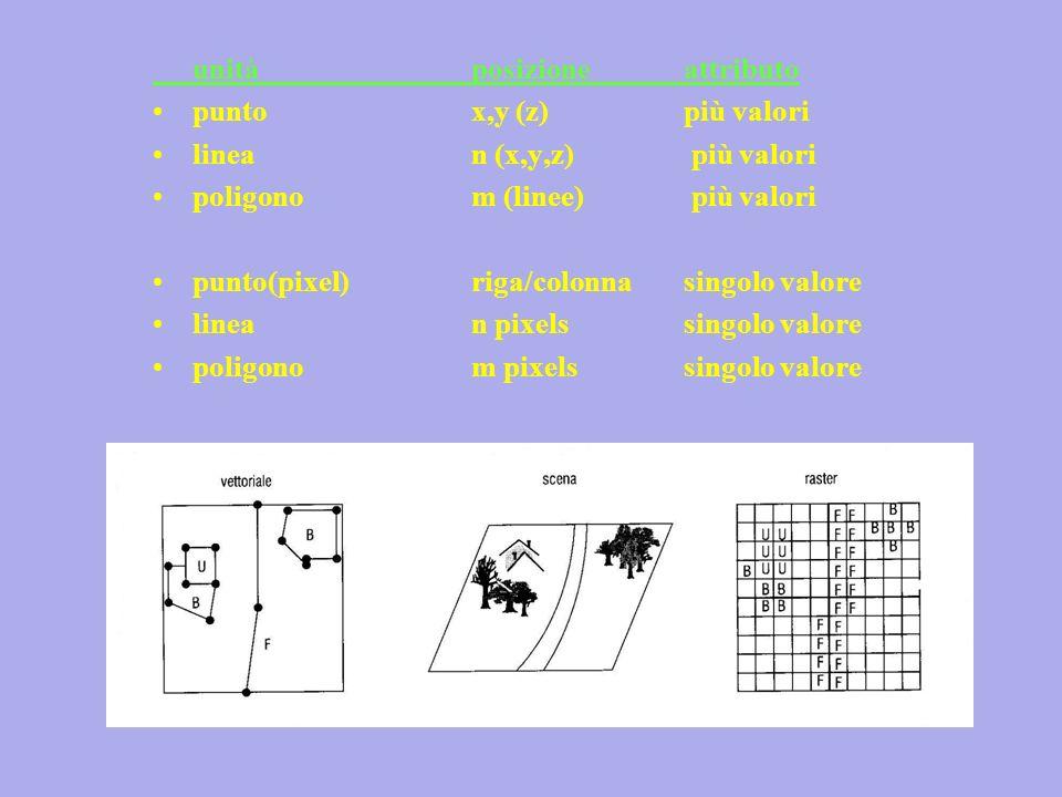 unità posizioneattributo puntox,y (z)più valori linean (x,y,z) più valori poligonom (linee) più valori punto(pixel)riga/colonnasingolo valore linean pixelssingolo valore poligonom pixelssingolo valore