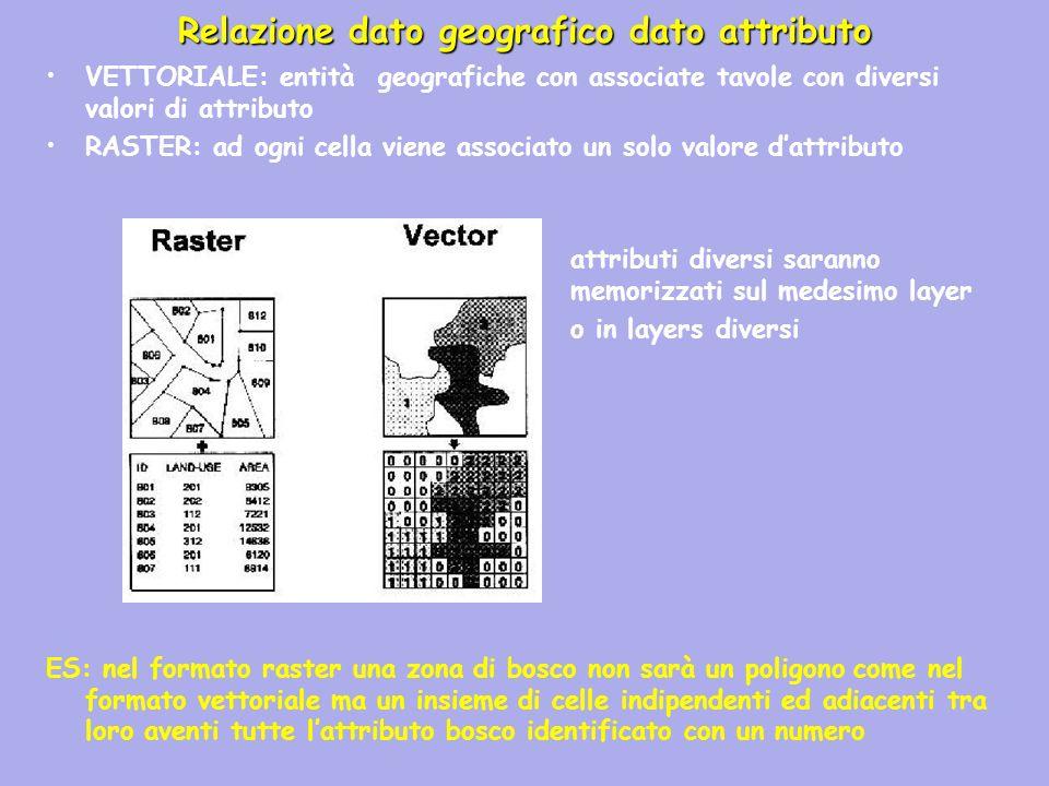 VETTORIALE: entità geografiche con associate tavole con diversi valori di attributo RASTER: ad ogni cella viene associato un solo valore dattributo at