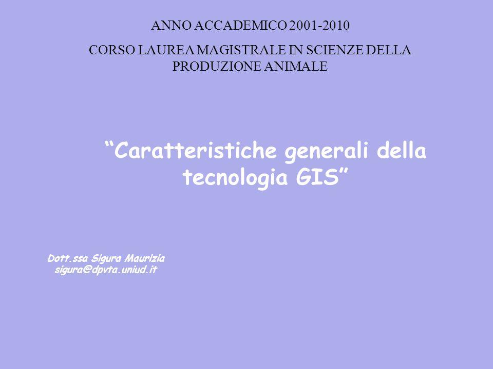 Caratteristiche generali della tecnologia GIS Dott.ssa Sigura Maurizia sigura@dpvta.uniud.it ANNO ACCADEMICO 2001-2010 CORSO LAUREA MAGISTRALE IN SCIENZE DELLA PRODUZIONE ANIMALE
