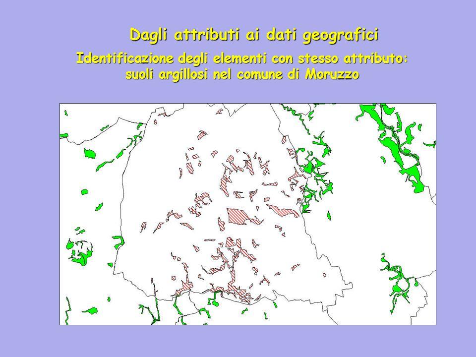 Dagli attributi ai dati geografici Identificazione degli elementi con stesso attributo: suoli argillosi nel comune di Moruzzo