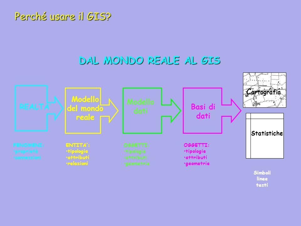 Perché usare il GIS? DAL MONDO REALE AL GIS REALTA Modello del mondo reale Modello dati Basi di dati C artografia Statistiche FENOMENI: proprietà conn