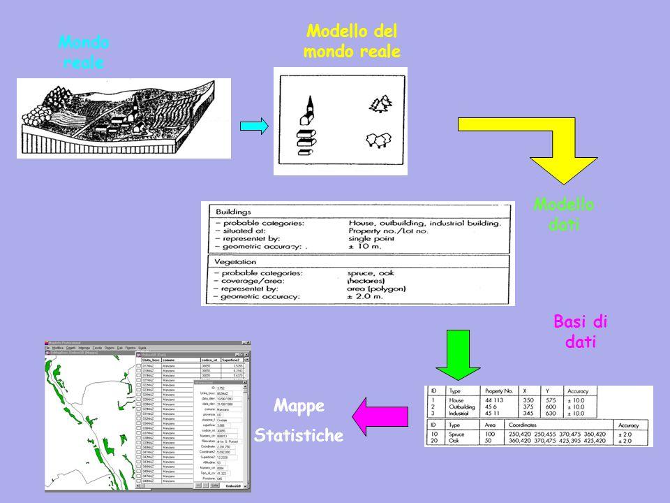 Mondo reale Modello del mondo reale Modello dati Basi di dati Mappe Statistiche