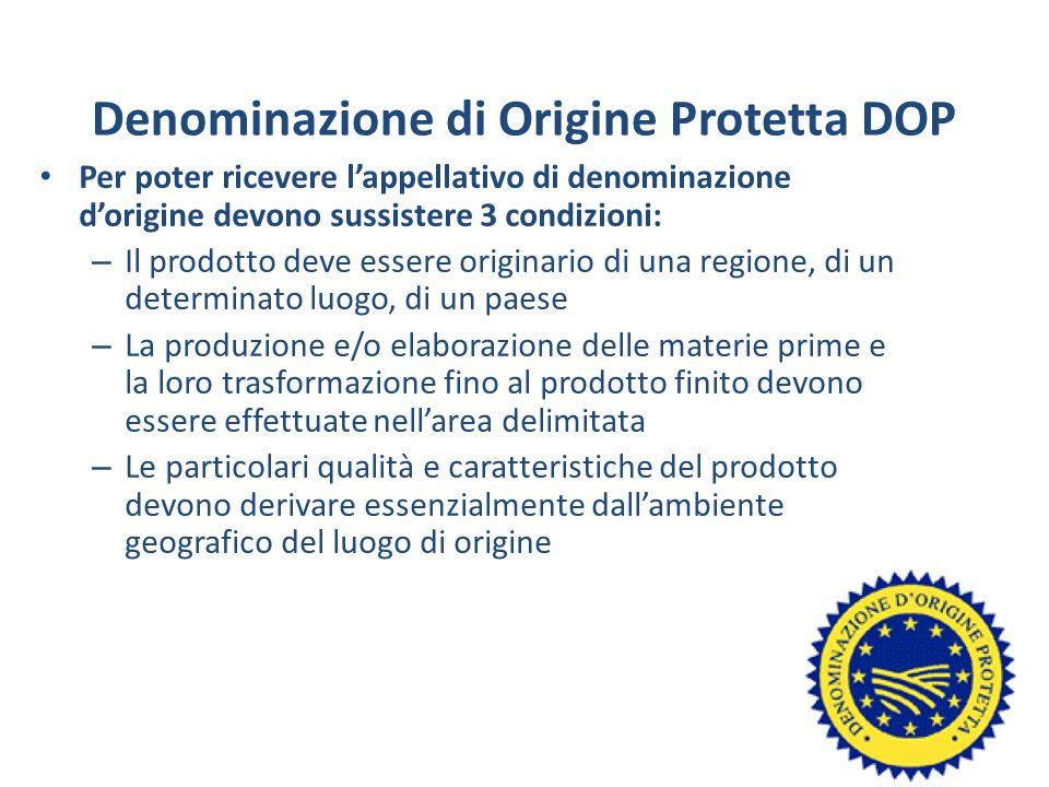 Denominazione di Origine Protetta DOP Per poter ricevere lappellativo di denominazione dorigine devono sussistere 3 condizioni: – Il prodotto deve ess