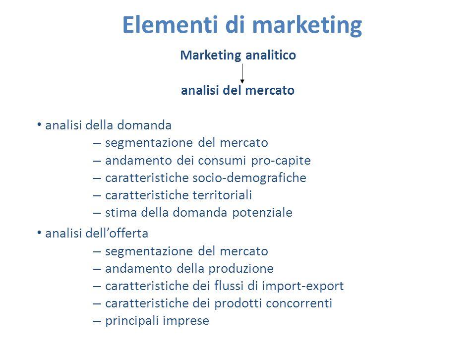 Elementi di marketing Marketing strategico e operativo marketing mix prodotto prezzo distribuzione promozione prodotto (product) differenziazione _ Caratteristiche intrinseche qualità – Caratteristiche estrinseche packaging, etichetta, ecc.