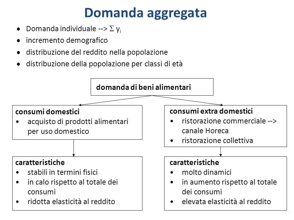 Domanda aggregata Domanda individuale --> y i incremento demografico distribuzione del reddito nella popolazione distribuzione della popolazione per c
