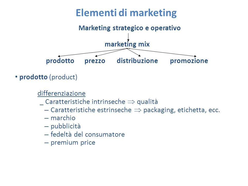 Elementi di marketing marketing mix prodotto (product) ciclo di vita del prodotto t vendite A B C D A = introduzione B = espansione C = stabilizzazione D = declino