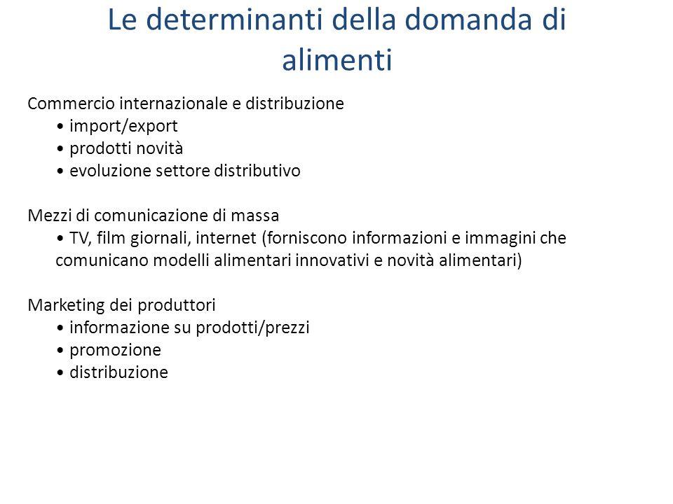 Le determinanti della domanda di alimenti Commercio internazionale e distribuzione import/export prodotti novità evoluzione settore distributivo Mezzi