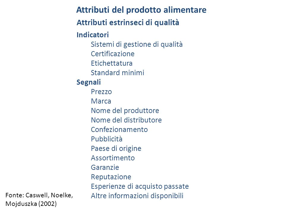 Attributi del prodotto asimmetria informativa --> ricerca di informazioni svolta dal consumatore sulle caratteristiche qualitative di un prodotto --> costo-beneficio (Stigler, 1961) classificazione degli attributi del prodotto sulla base della ricerca di informazioni e delle caratteristiche qualitative: attributi search/ricerca --> si possono rilevare prima dellacquisto attributi experience/esperienza --> si possono rilevare dopo il consumo attributi credeance/fiducia --> non si possono rilevare anche dopo il consumo