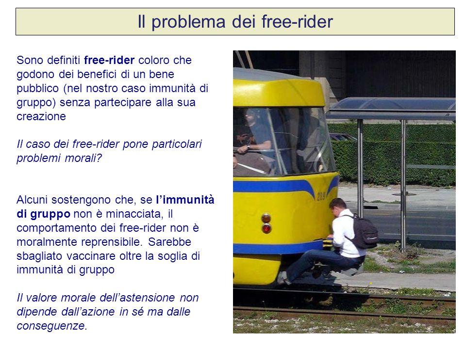 Il problema dei free-rider Sono definiti free-rider coloro che godono dei benefici di un bene pubblico (nel nostro caso immunità di gruppo) senza part