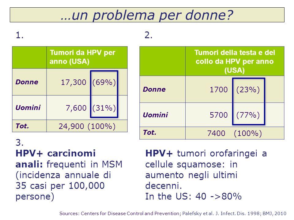 Tumori da HPV per anno (USA) Donne 17,300 (69%) Uomini 7,600 (31%) Tot. 24,900 (100%) Sources: Centers for Disease Control and Prevention; Palefsky et