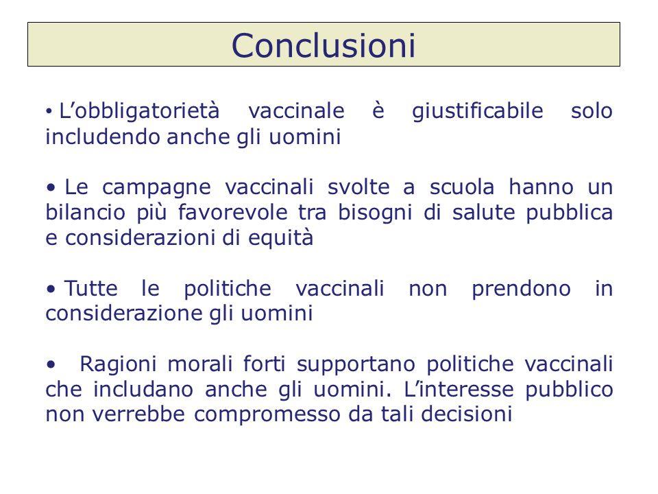 Conclusioni Lobbligatorietà vaccinale è giustificabile solo includendo anche gli uomini Le campagne vaccinali svolte a scuola hanno un bilancio più fa