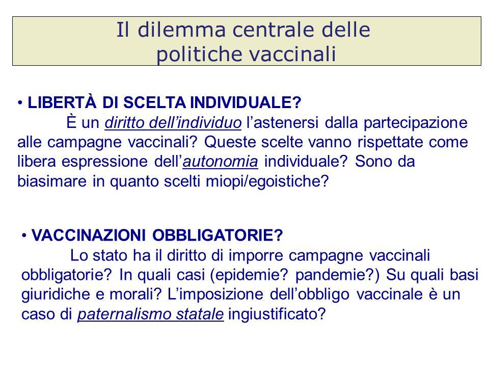 Il dilemma centrale delle politiche vaccinali LIBERTÀ DI SCELTA INDIVIDUALE? È un diritto dellindividuo lastenersi dalla partecipazione alle campagne