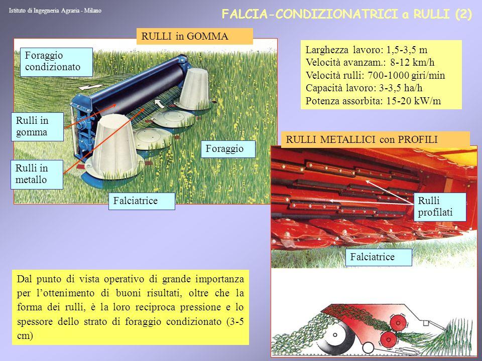 8 FALCIA-CONDIZIONATRICI a DENTI (1) Istituto di Ingegneria Agraria - Milano Il foraggio è introdotto dal piede che colpisce il rotore e strofina contro il carter (frammentazione cuticola).