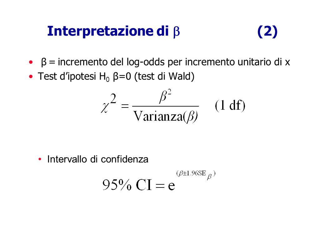 Interpretazione di (2) β = incremento del log-odds per incremento unitario di x Test dipotesi H 0 β=0 (test di Wald) Intervallo di confidenza