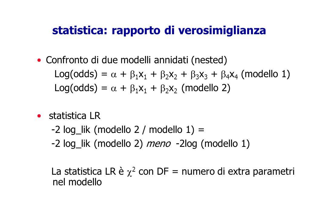 statistica: rapporto di verosimiglianza Confronto di due modelli annidati (nested) Log(odds) = + 1 x 1 + 2 x 2 + 3 x 3 + 4 x 4 (modello 1) Log(odds) =