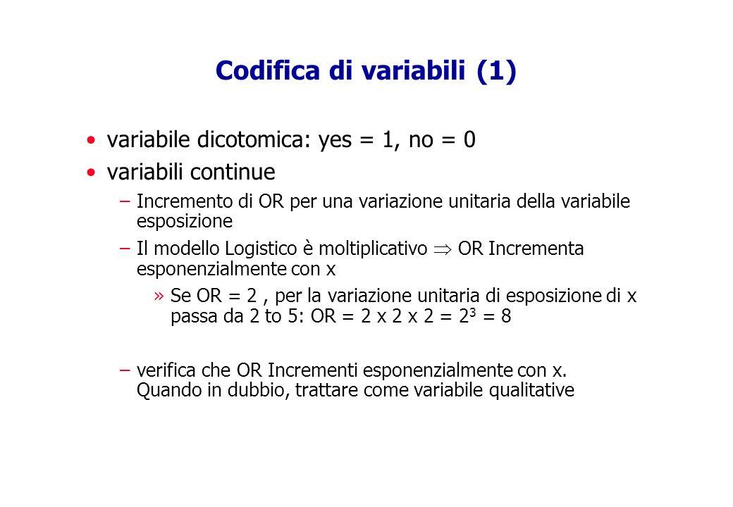Codifica di variabili (1) variabile dicotomica: yes = 1, no = 0 variabili continue –Incremento di OR per una variazione unitaria della variabile espos