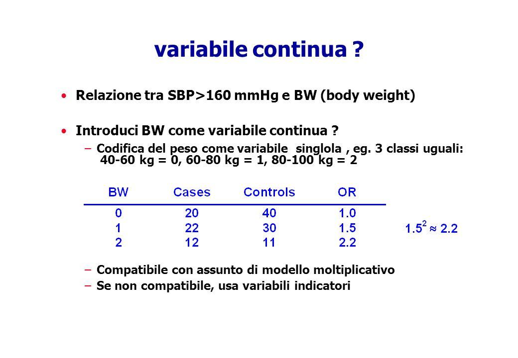 variabile continua ? Relazione tra SBP>160 mmHg e BW (body weight) Introduci BW come variabile continua ? –Codifica del peso come variabile singlola,