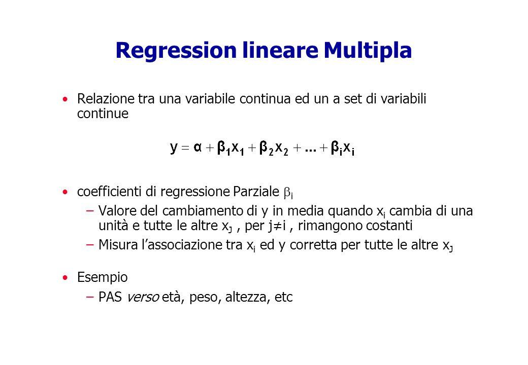 statistica: rapporto di verosimiglianza Confronto di due modelli annidati (nested) Log(odds) = + 1 x 1 + 2 x 2 + 3 x 3 + 4 x 4 (modello 1) Log(odds) = + 1 x 1 + 2 x 2 (modello 2) statistica LR -2 log_lik (modello 2 / modello 1) = -2 log_lik (modello 2) meno -2log (modello 1) La statistica LR è 2 con DF = numero di extra parametri nel modello