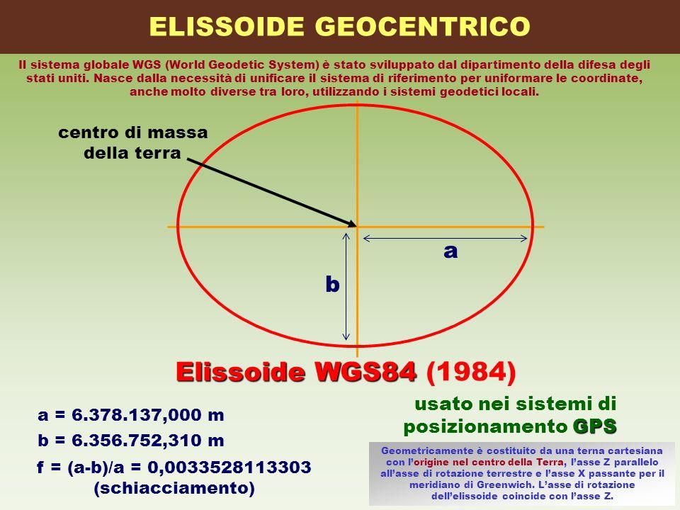 centro di massa della terra b Elissoide WGS84 Elissoide WGS84 (1984) a = 6.378.137,000 m f = (a-b)/a = 0,0033528113303 (schiacciamento) a usato nei si