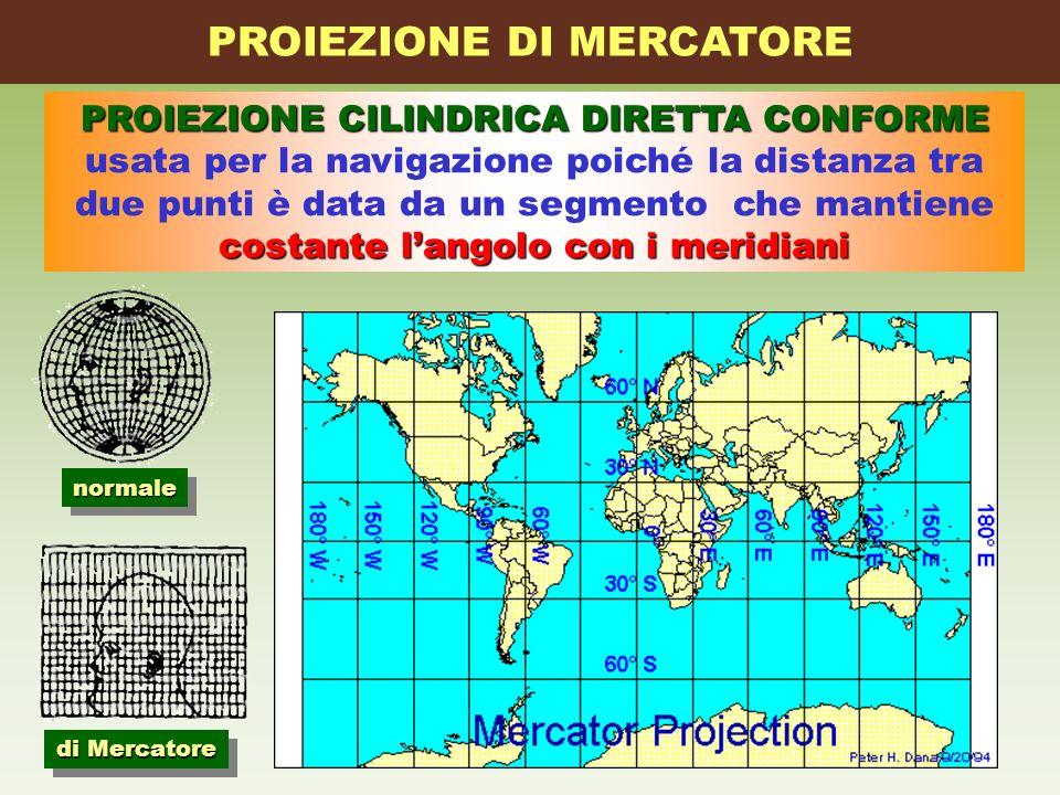 PROIEZIONE CILINDRICA DIRETTA CONFORME costante langolo con i meridiani usata per la navigazione poiché la distanza tra due punti è data da un segment