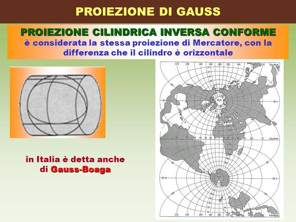 PROIEZIONE CILINDRICA INVERSA CONFORME è considerata la stessa proiezione di Mercatore, con la differenza che il cilindro è orizzontale PROIEZIONE DI