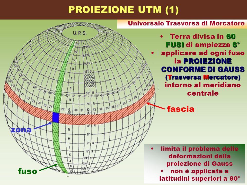 60 FUSI6°Terra divisa in 60 FUSI di ampiezza 6° PROIEZIONE CONFORME DI GAUSS (Trasversa Mercatore)applicare ad ogni fuso la PROIEZIONE CONFORME DI GAU