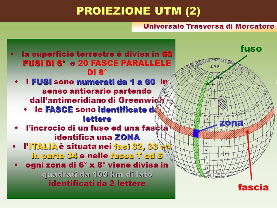 Universale Trasversa di Mercatore 60 FUSI DI 6°la superficie terrestre è divisa in 60 FUSI DI 6° e 20 FASCE PARALLELE DI 8° FUSInumerati da 1 a 60i FU