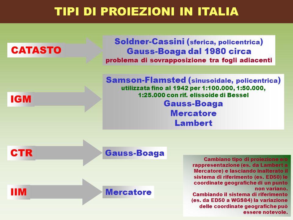 TIPI DI PROIEZIONI IN ITALIA Soldner-Cassini ( sferica, policentrica ) Gauss-Boaga dal 1980 circa problema di sovrapposizione tra fogli adiacenti CATA