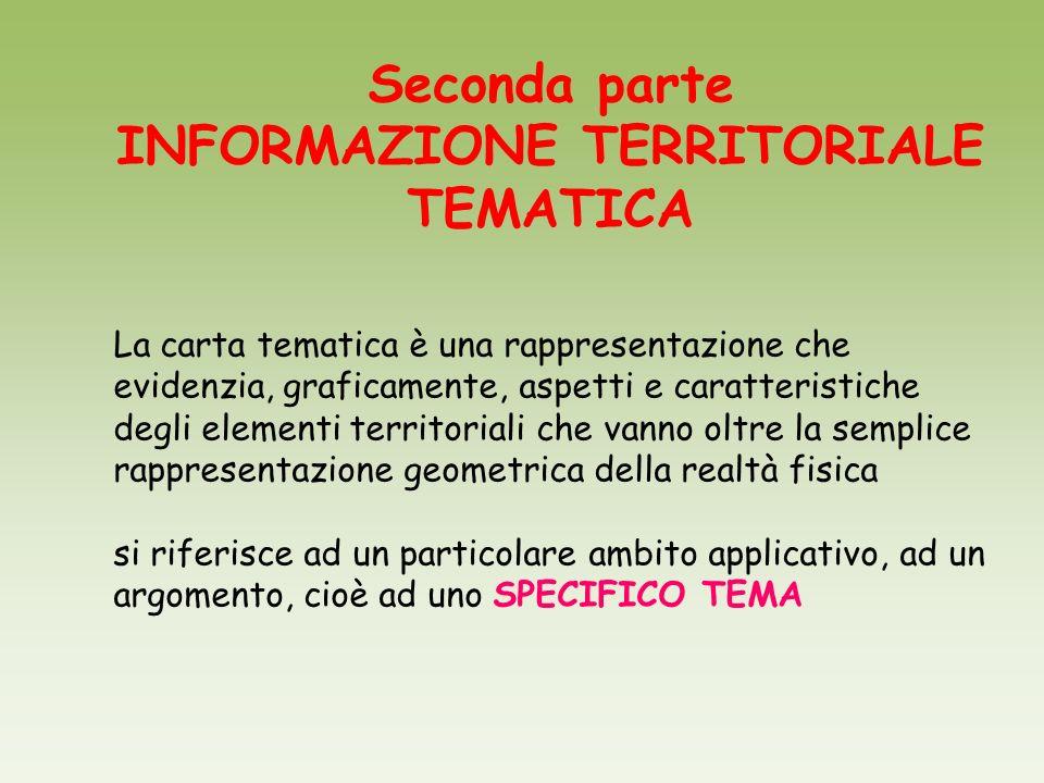 Seconda parte INFORMAZIONE TERRITORIALE TEMATICA La carta tematica è una rappresentazione che evidenzia, graficamente, aspetti e caratteristiche degli