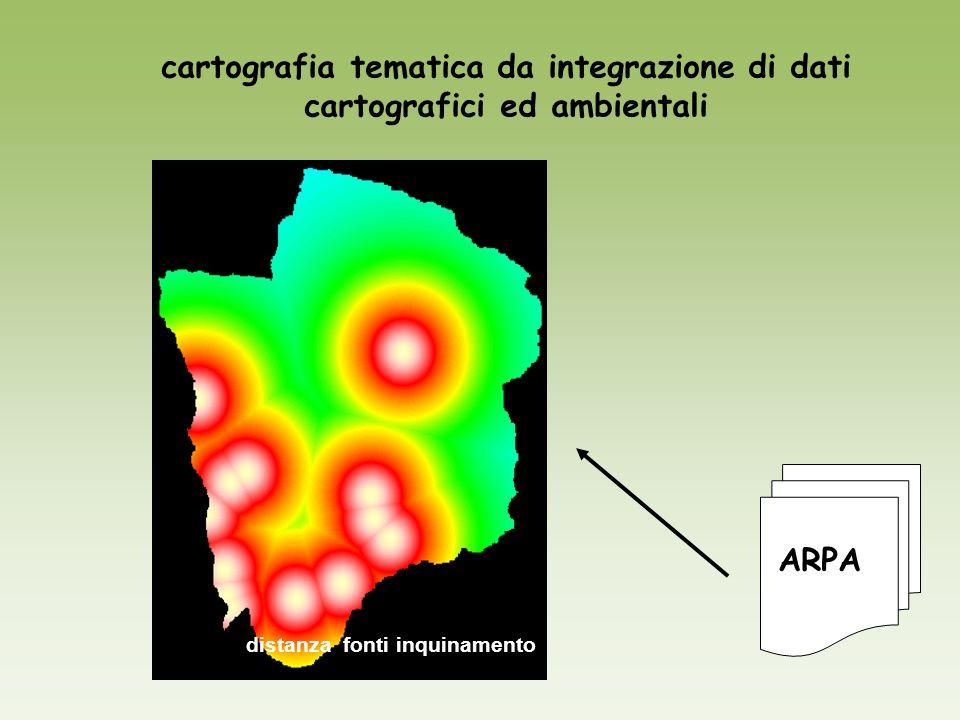 distanza fonti inquinamento cartografia tematica da integrazione di dati cartografici ed ambientali ARPA