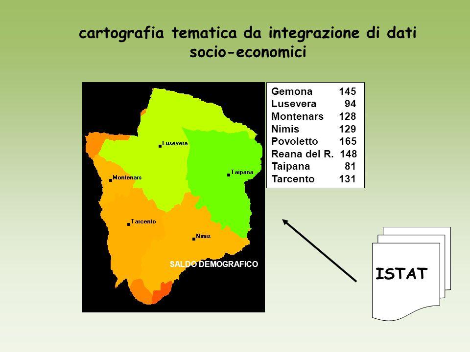 cartografia tematica da integrazione di dati socio-economici SALDO DEMOGRAFICO Gemona 145 Lusevera 94 Montenars 128 Nimis 129 Povoletto 165 Reana del